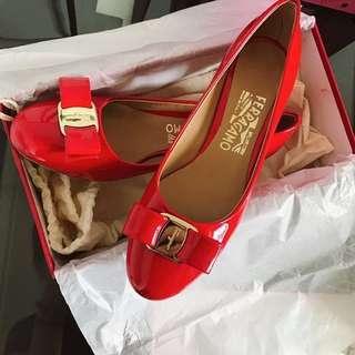Salvatore Ferragamo Vara 3cm 小紅鞋 紅色 婚鞋 精品 6D