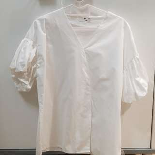 Korean Style White V neck Blouse Top with Short Bubble Sleeves