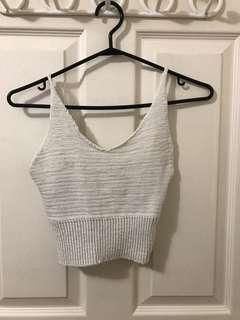 White knit crop top