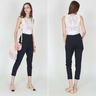 MDS High-Waisted Tapered Trousers in Midnight, BN