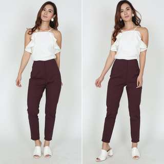 MDS High-Waisted Tapered Trousers in Oxblood BN