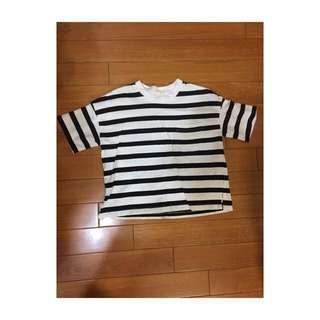 GU休閒短版黑白條紋上衣