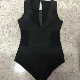 Black Mesh Swimming Suit