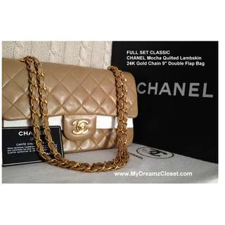 "FULL SET CLASSIC CHANEL Mocha Quilted Lambskin 24K Gold Chain 9"" Double Flap Bag"