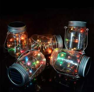 1 jar of 10 LED String Fairy Light Solar Mason Jar String Lights with Screw on Lid