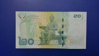 泰國,泰皇浦蜜蓬,20銖全新紙幣,泰皇己仙遊,買番張留念