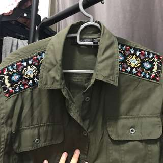 TOPSHOP embroidered army shirt