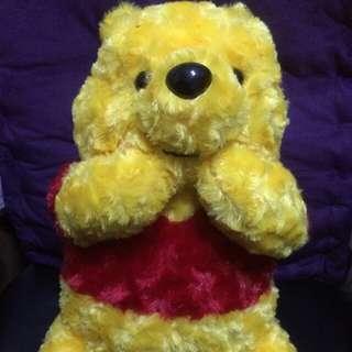 SEGA Disney 迪士尼 小熊維尼 維尼熊 蜜糖熊 Winnie the Pooh 可愛 玫瑰花毛 大景品公仔 35cm高 全新正版有吊牌
