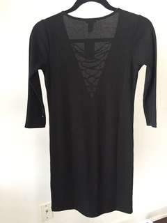 BNWT FOREVER21 Black Ribbed Lace-Up Dress Size S