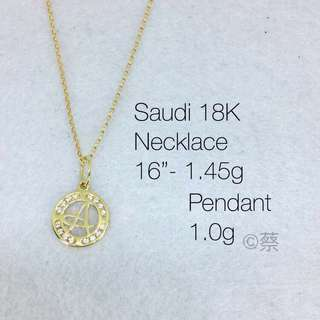 18k Necklace with Initial Pendant