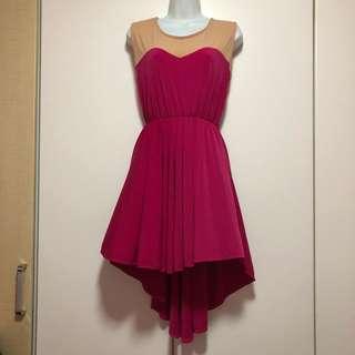 ♥️ Colorblock Beige x Pink Asymmetrical Dress