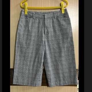 黑色 白色 千鳥格 五分褲 短褲 日本製 純棉 防皺 高爾夫球褲