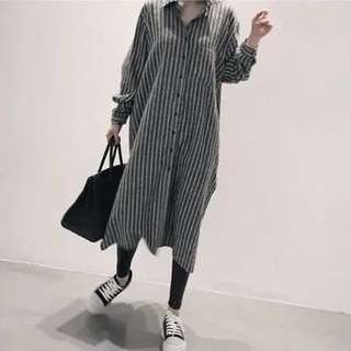 (S~2XL) Women Fashion Stripe Comfortable Long Shirt Lining