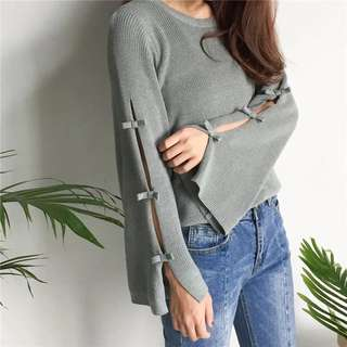 2018 Spring/Summer Solid Knitted Sweater Bow Trumpet Sleeve