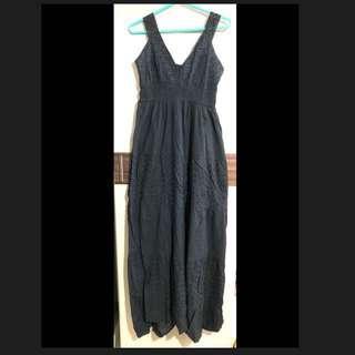 性感 V領 黑色 蕾絲 寬肩帶 長裙 長洋裝 睡衣
