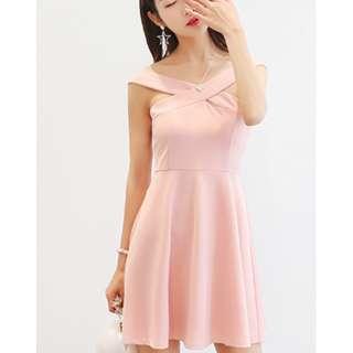 Off shoulder Elegant Pink Dress
