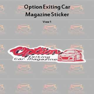 Option Exting Car Magazine Sticker