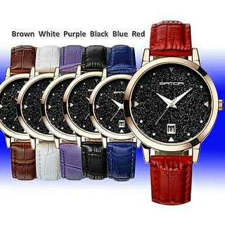 P194 Dazzling Genuine Leather Waterproof Watch *NEW*