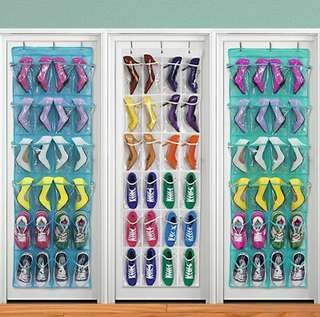 Multi-function 24 Pocket Over Door Hanging Holder Shoe Organiser Storage Rack Wall Closet Bag Hanging