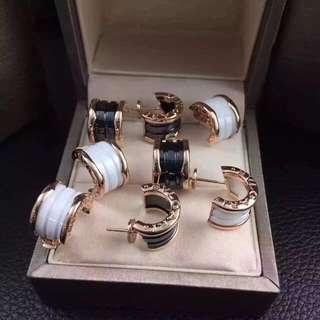 Bvlgari 寶格麗 B.Zero1 黑白陶瓷耳環