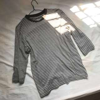 MUJI Stripes Grey 3/4 Sleeves Top