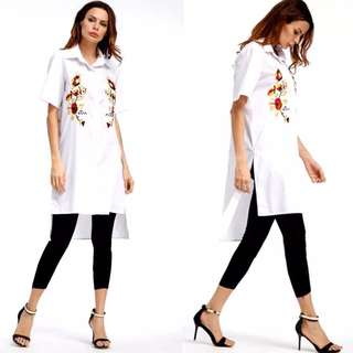 European Lapel Embroidered Dress Ladies Short Sleeve Shirt