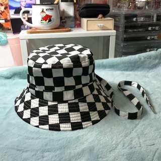 🚚 棋盤格漁夫帽