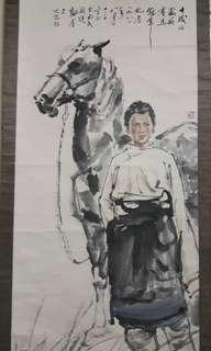 🚚 文革時期字畫 楊之光 名家 藏族賽馬冠軍