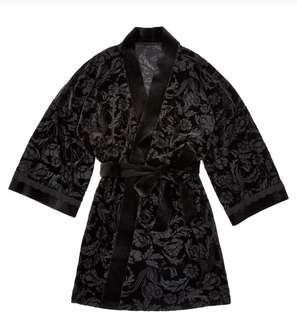 BNWT ADOREME Black Velvet Floral Mesh Robe Size S