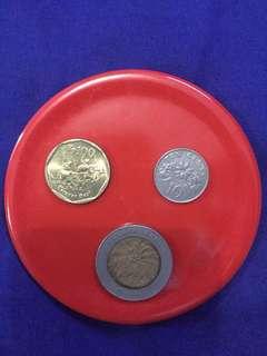 1000 kelapa sawit 2000, 100 rupiah 1997, 10 cents singapur 1989
