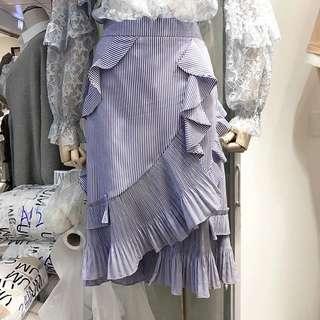 Leve stripe tier pleAted Detail Skirt