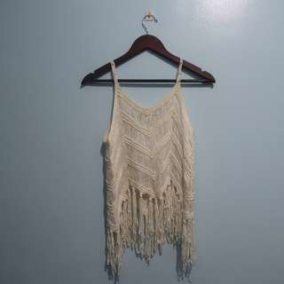 Lacy Fringed Beach Coverup