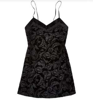 BNWT ADOREME Black Velvet Floral Mesh Slip Dress Size S