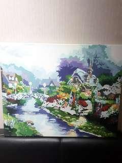 Lukisan water paint (Warnain sendiri)