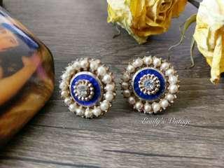 母親節85折降價!!Vintage歐美老件皇家藍搪瓷耳環