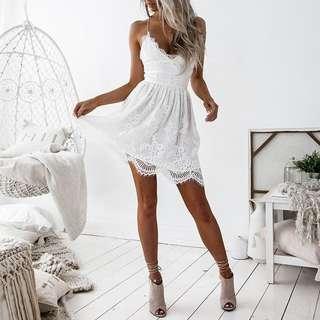 [PO] White Lace Backless Dress