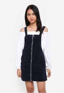 Corded pinafore dress (Navy)