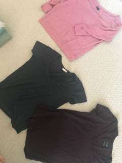 Random shirts from aritzia, 6 for $30