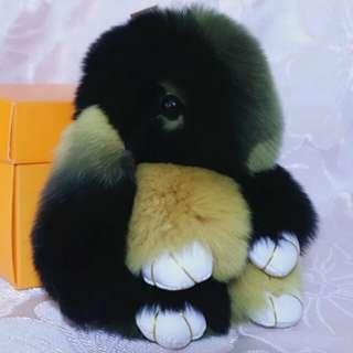 Keychain - Real Rabbit Fur Size 13-15cm Black Yellow Colour 2pcs