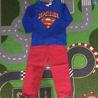Superman and red zara pants