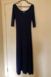 Navy blue slim fitted maxi dress