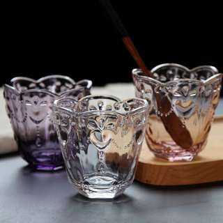 PO Vintage Embossed Glass Jar Set Of 6
