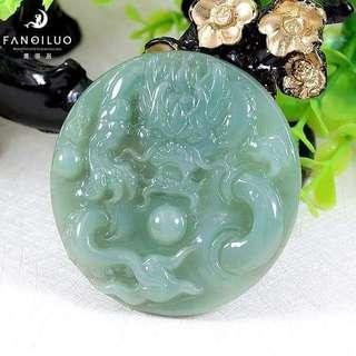 Exquisite Grade A Dragon Playing Ball Jadeite Pendant