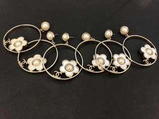 Chanel 圓圈小花花渡假風美式耳環