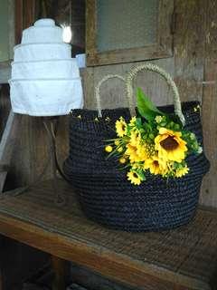 Handycraft bag, black with yellow SunFlower