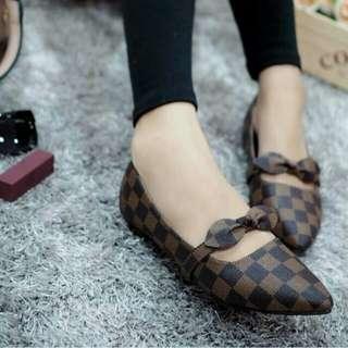 Sepatu flat shoes wanita pita coklat