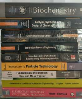 Chemical Engineering textbook(CN1111,2122,2116,2125,3124,3132,3135,4123design project and lsm1301)
