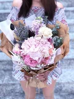 Heartfelt Gratitude - Pink Carnations & Hydrangea