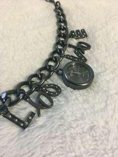 XOXO Woman's XO7051 Black-Tone Charm Watch