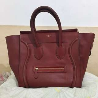 Preloved authentic Celine luggage mini maroon leather tote